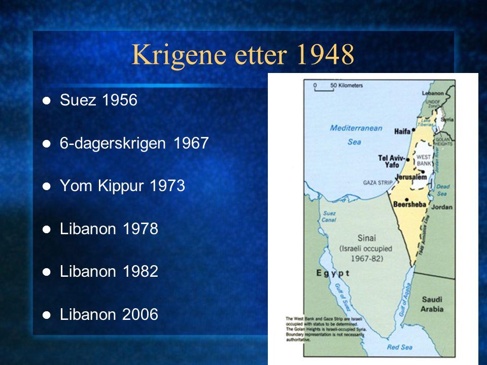 Krigene etter 1948 Suez 1956 6-dagerskrigen 1967 Yom Kippur 1973