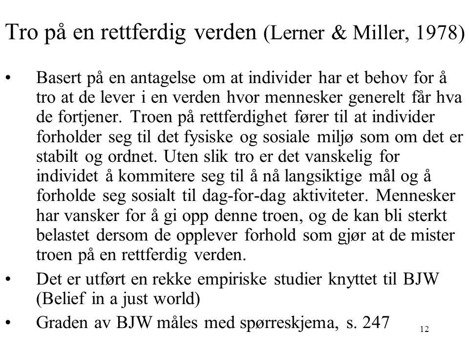 Tro på en rettferdig verden (Lerner & Miller, 1978)