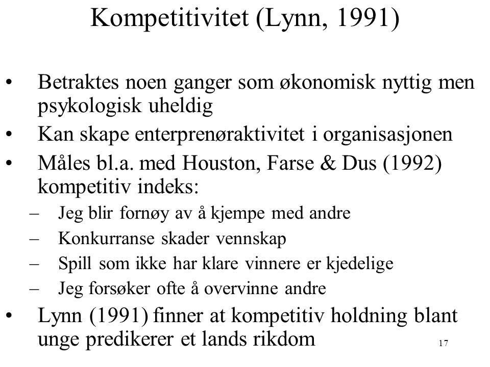 Kompetitivitet (Lynn, 1991)
