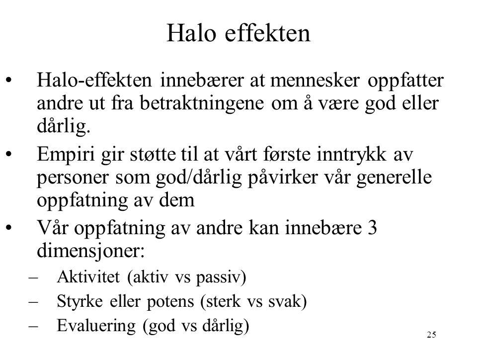 Halo effekten Halo-effekten innebærer at mennesker oppfatter andre ut fra betraktningene om å være god eller dårlig.