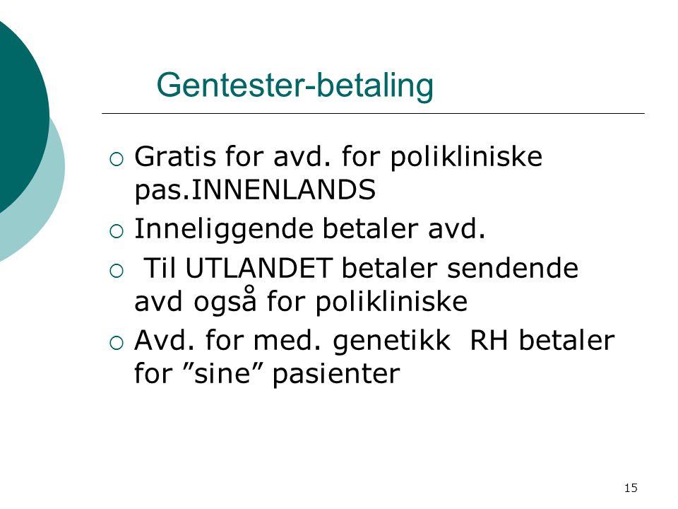 Gentester-betaling Gratis for avd. for polikliniske pas.INNENLANDS