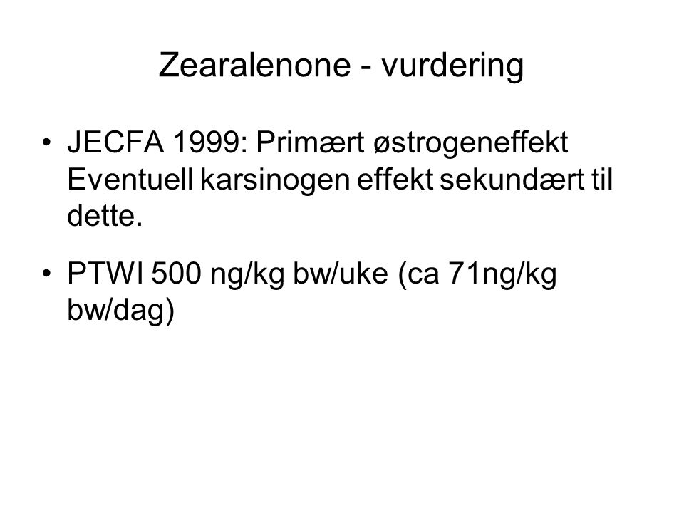 Zearalenone - vurdering