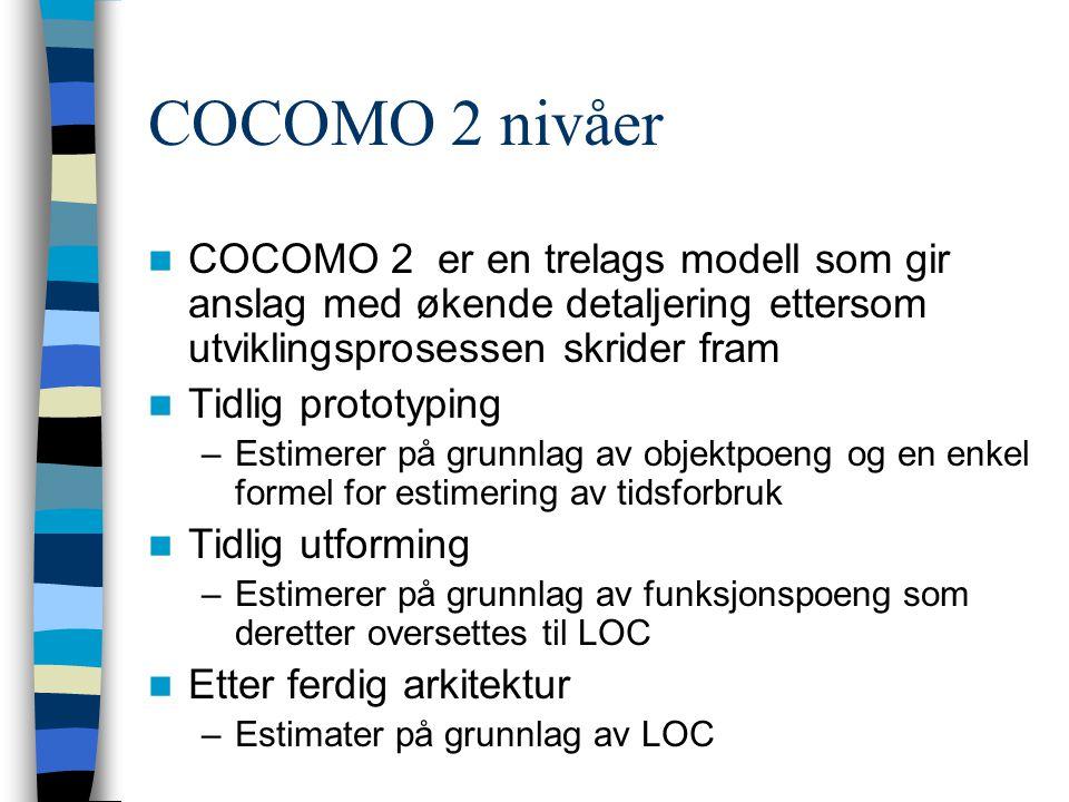 COCOMO 2 nivåer COCOMO 2 er en trelags modell som gir anslag med økende detaljering ettersom utviklingsprosessen skrider fram.