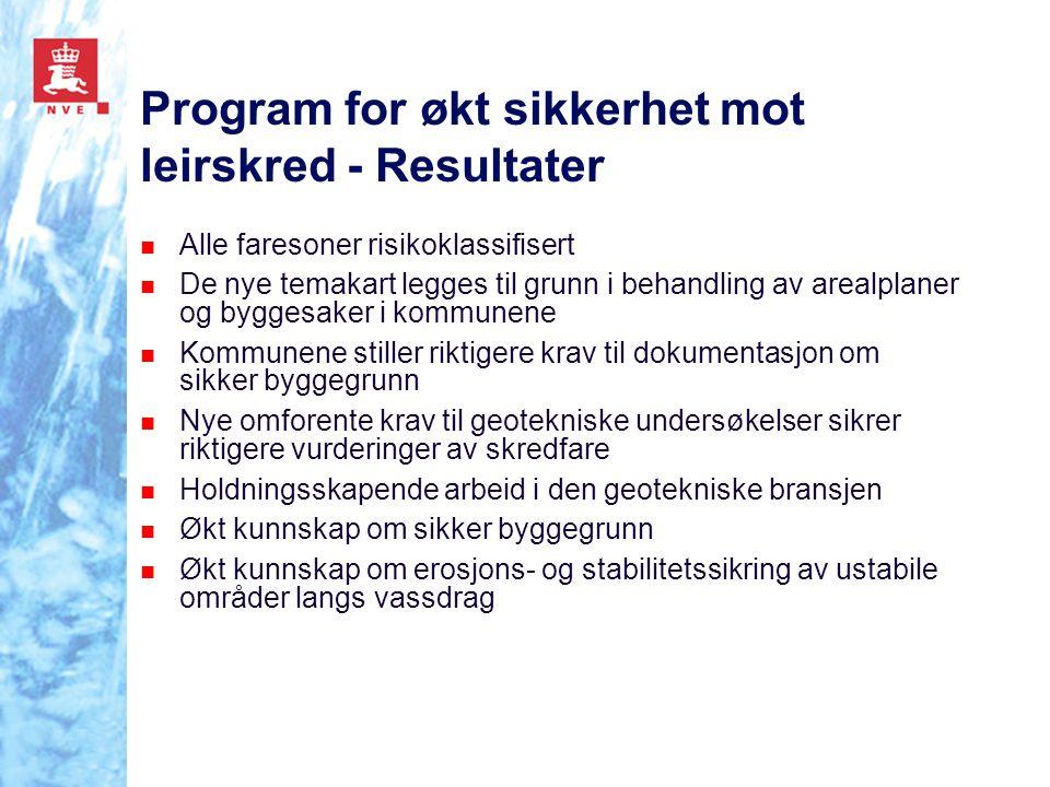Program for økt sikkerhet mot leirskred - Resultater