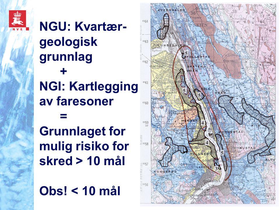 NGU: Kvartær-geologisk grunnlag + NGI: Kartlegging av faresoner = Grunnlaget for mulig risiko for skred > 10 mål Obs! < 10 mål