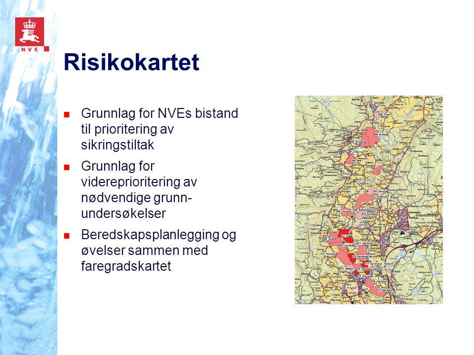 Risikokartet Grunnlag for NVEs bistand til prioritering av sikringstiltak. Grunnlag for videreprioritering av nødvendige grunn-undersøkelser.