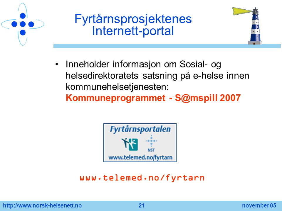 Fyrtårnsprosjektenes Internett-portal