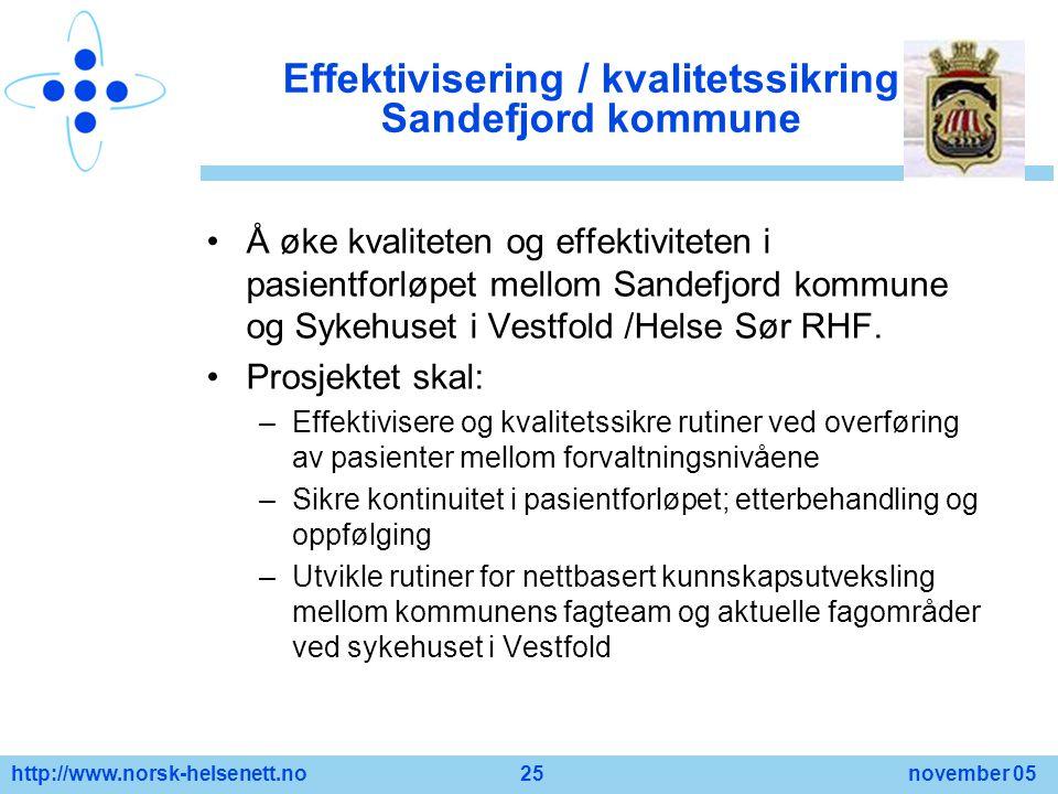 Effektivisering / kvalitetssikring Sandefjord kommune