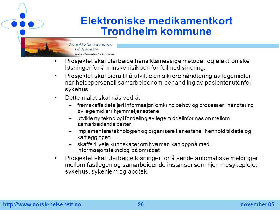 Elektroniske medikamentkort Trondheim kommune