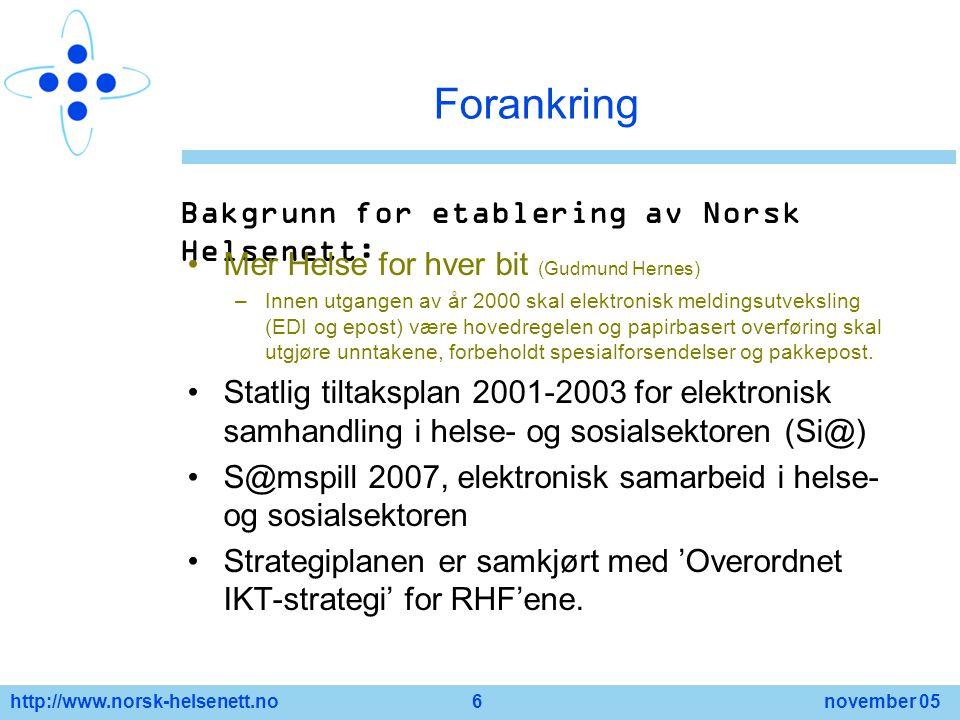 Forankring Bakgrunn for etablering av Norsk Helsenett: