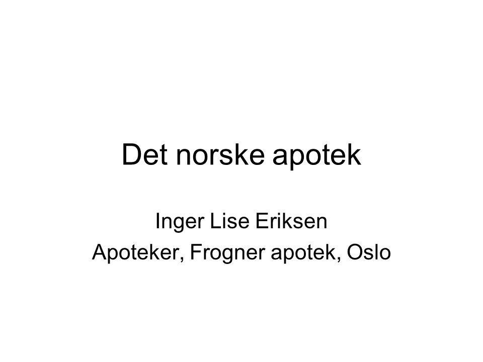 Inger Lise Eriksen Apoteker, Frogner apotek, Oslo