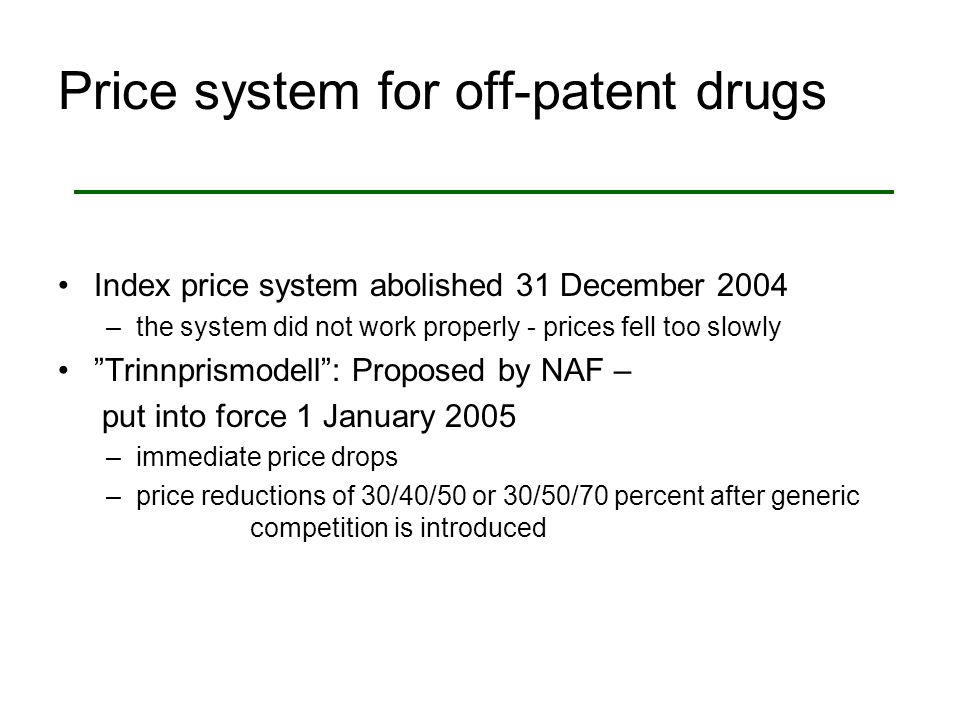 Price system for off-patent drugs