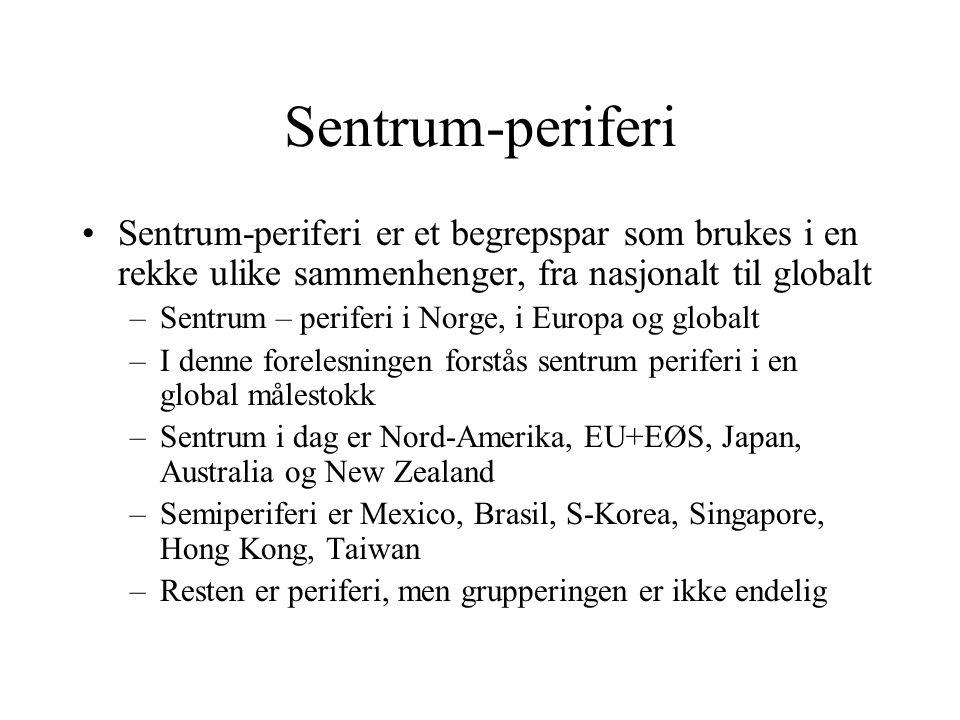 Sentrum-periferi Sentrum-periferi er et begrepspar som brukes i en rekke ulike sammenhenger, fra nasjonalt til globalt.