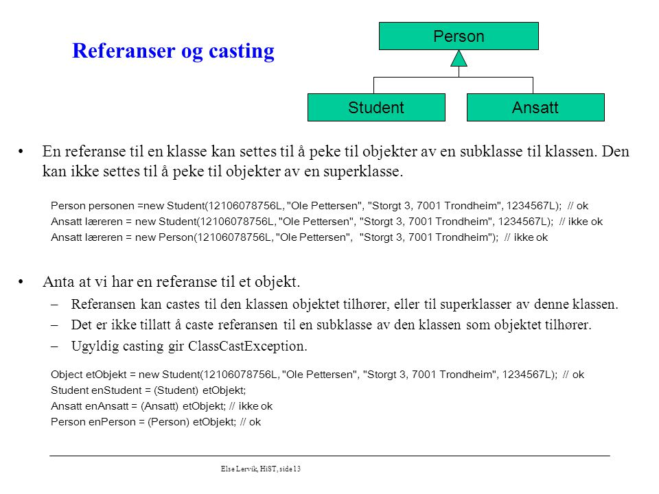 Referanser og casting Person Student Ansatt