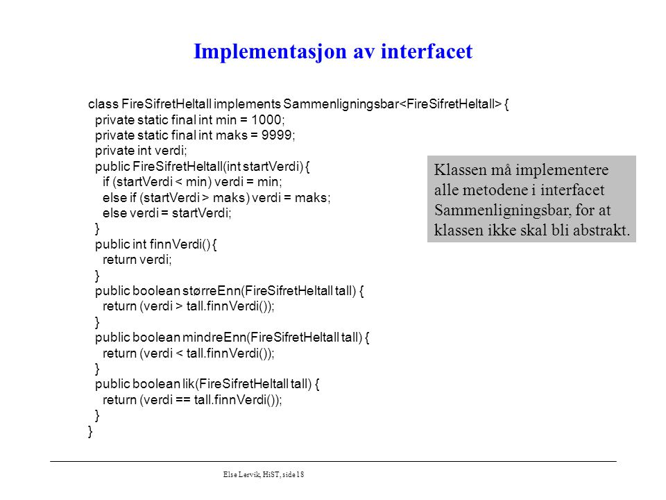 Implementasjon av interfacet