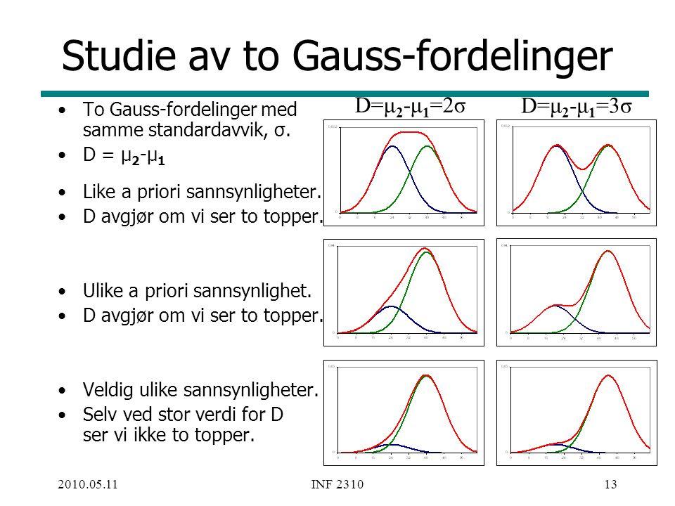 Studie av to Gauss-fordelinger