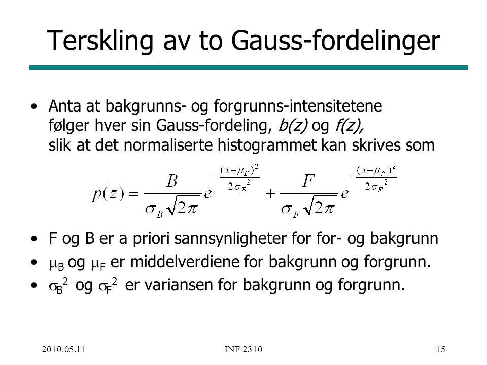 Terskling av to Gauss-fordelinger