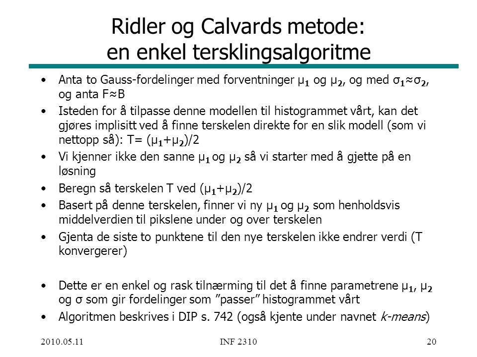 Ridler og Calvards metode: en enkel tersklingsalgoritme