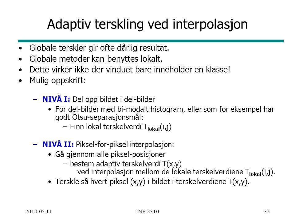Adaptiv terskling ved interpolasjon