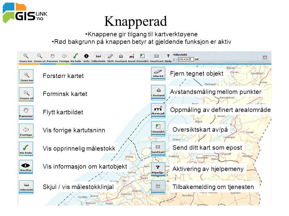 Knapperad Knappene gir tilgang til kartverktøyene