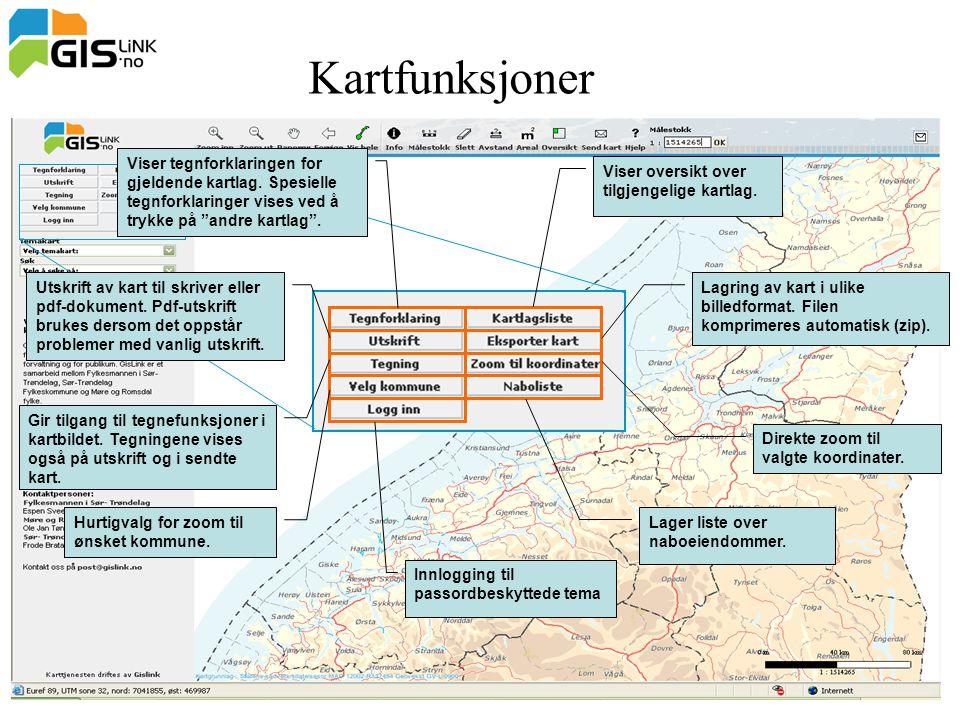 Kartfunksjoner Viser tegnforklaringen for gjeldende kartlag. Spesielle tegnforklaringer vises ved å trykke på andre kartlag .
