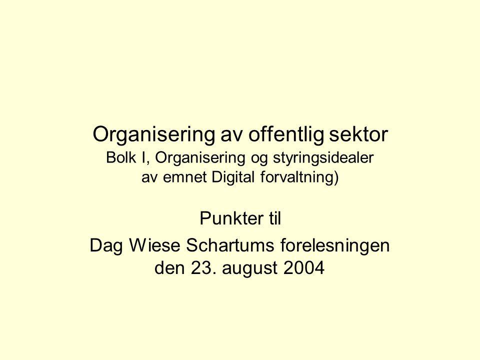 Punkter til Dag Wiese Schartums forelesningen den 23. august 2004