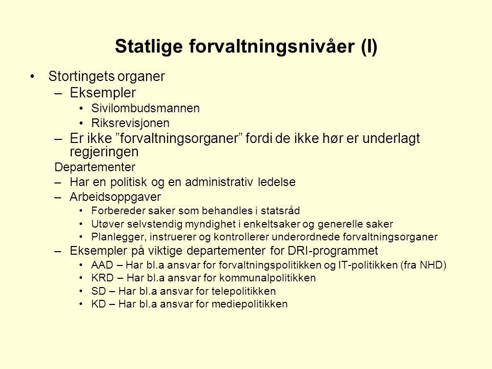 Statlige forvaltningsnivåer (I)