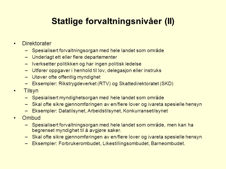 Statlige forvaltningsnivåer (II)
