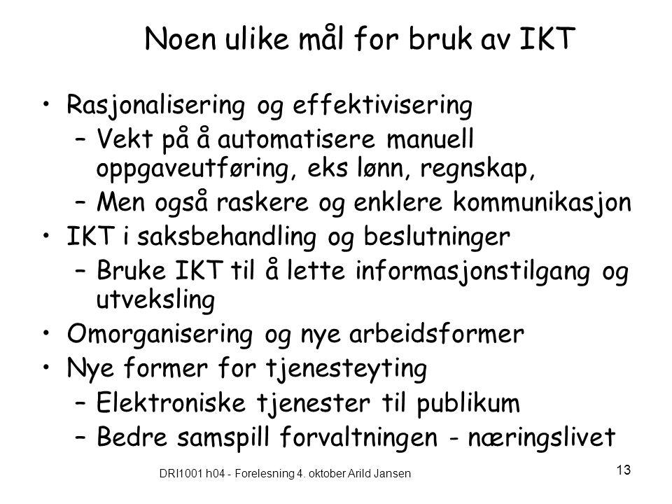 Noen ulike mål for bruk av IKT
