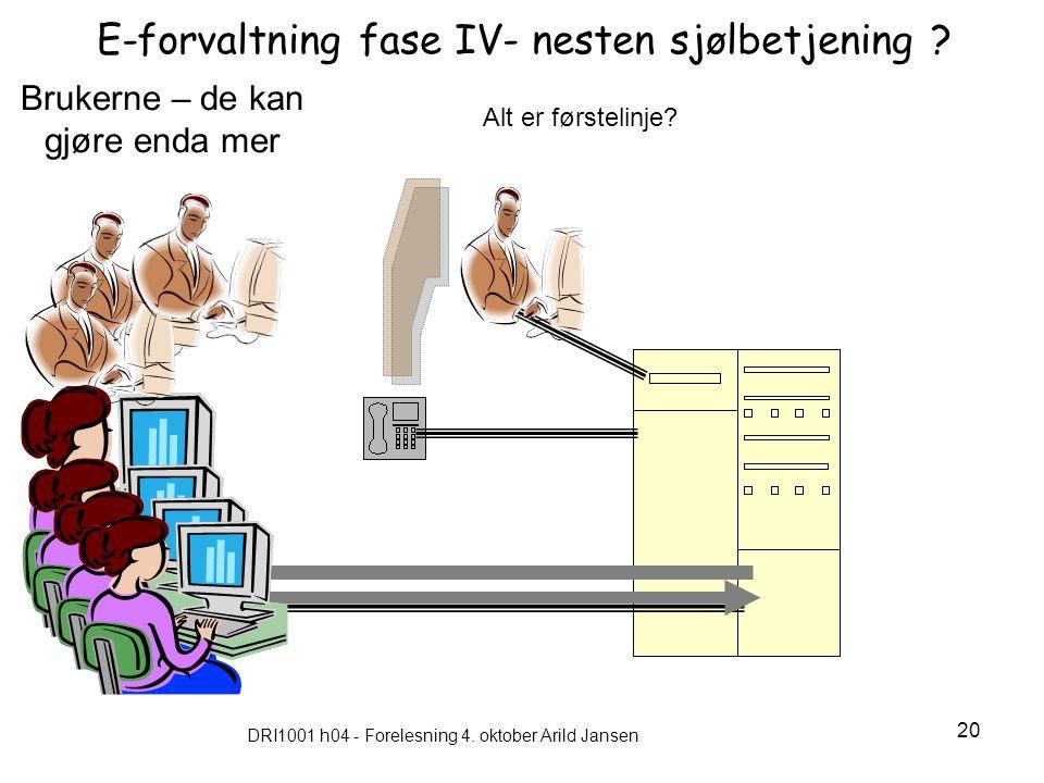 E-forvaltning fase IV- nesten sjølbetjening