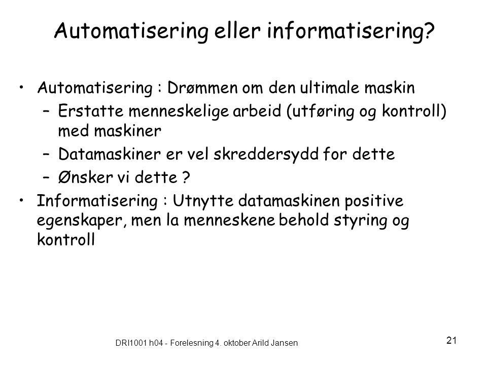 Automatisering eller informatisering