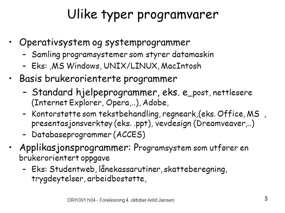 Ulike typer programvarer
