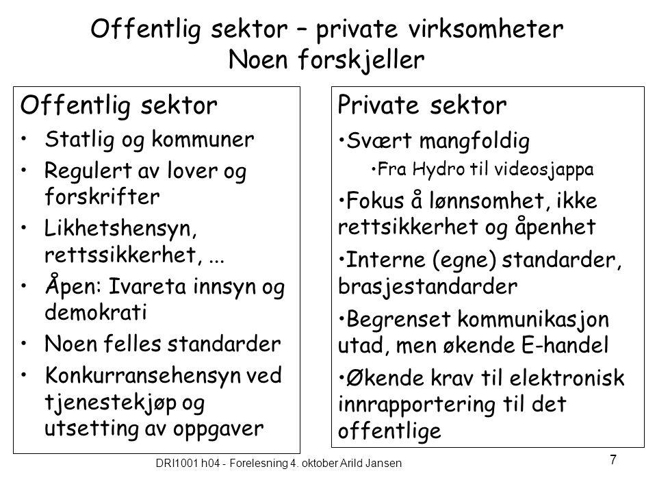 Offentlig sektor – private virksomheter Noen forskjeller