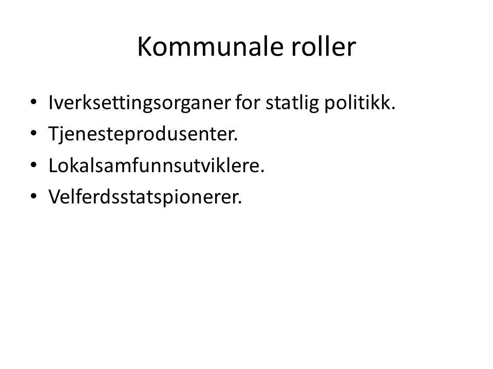 Kommunale roller Iverksettingsorganer for statlig politikk.
