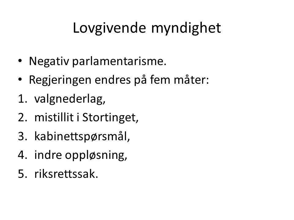 Lovgivende myndighet Negativ parlamentarisme.