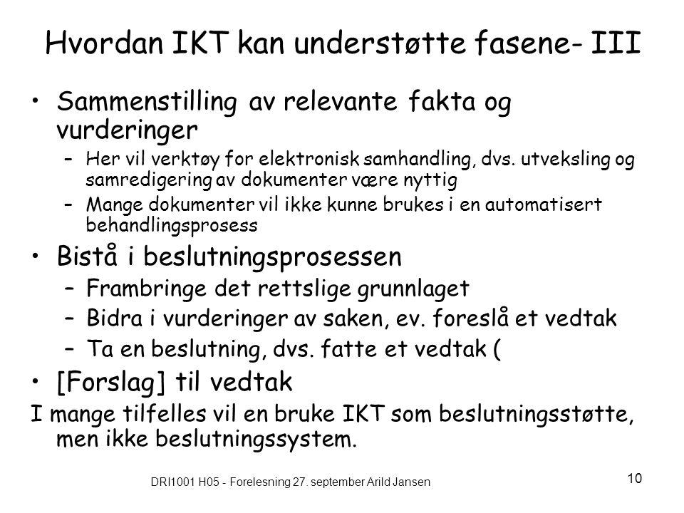 Hvordan IKT kan understøtte fasene- III