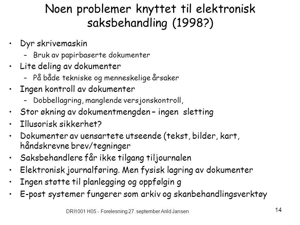 Noen problemer knyttet til elektronisk saksbehandling (1998 )