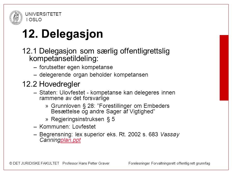 12. Delegasjon 12.1 Delegasjon som særlig offentligrettslig kompetansetildeling: forutsetter egen kompetanse.