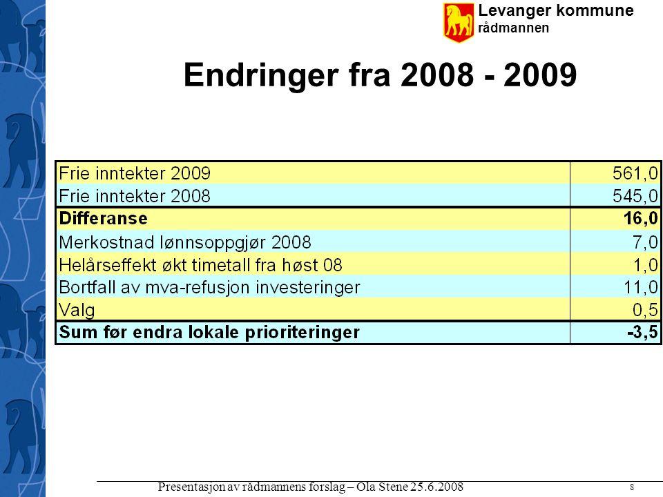 Endringer fra 2008 - 2009