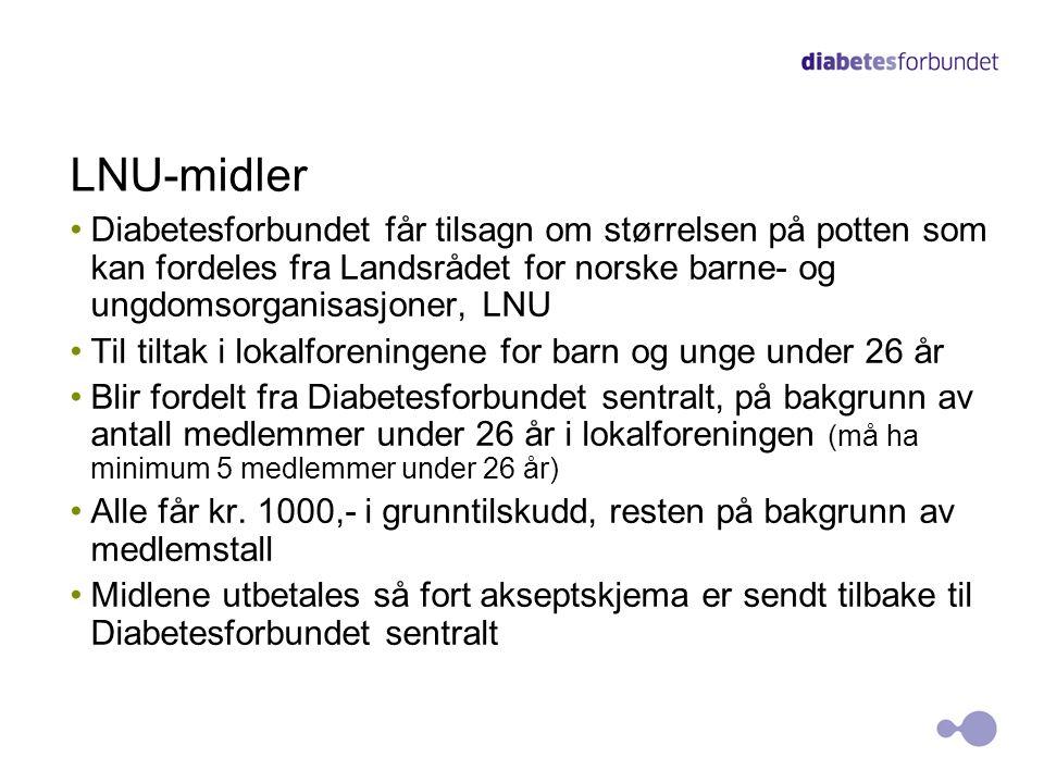 LNU-midler Diabetesforbundet får tilsagn om størrelsen på potten som kan fordeles fra Landsrådet for norske barne- og ungdomsorganisasjoner, LNU.
