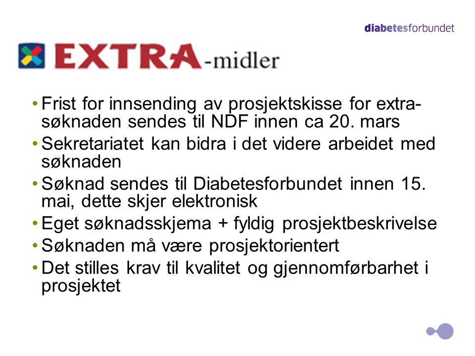 Frist for innsending av prosjektskisse for extra-søknaden sendes til NDF innen ca 20. mars