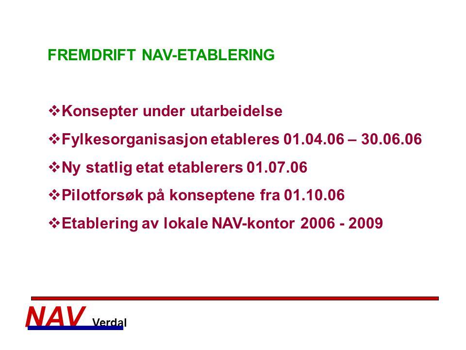 NAV Verdal FREMDRIFT NAV-ETABLERING Konsepter under utarbeidelse