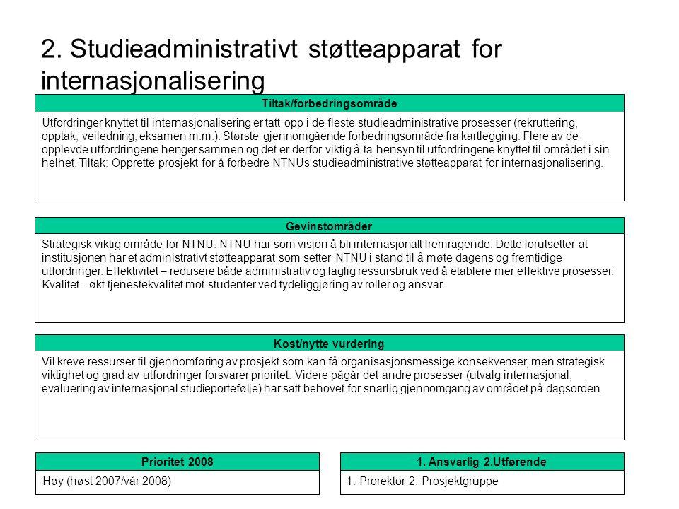2. Studieadministrativt støtteapparat for internasjonalisering
