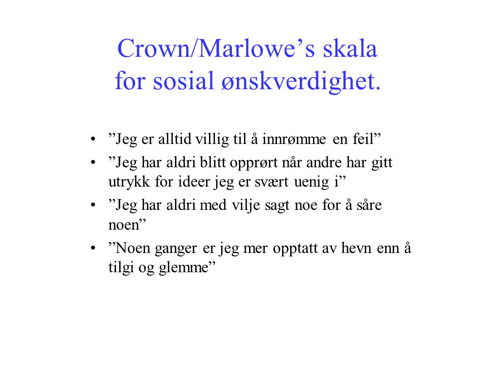 Crown/Marlowe's skala for sosial ønskverdighet.