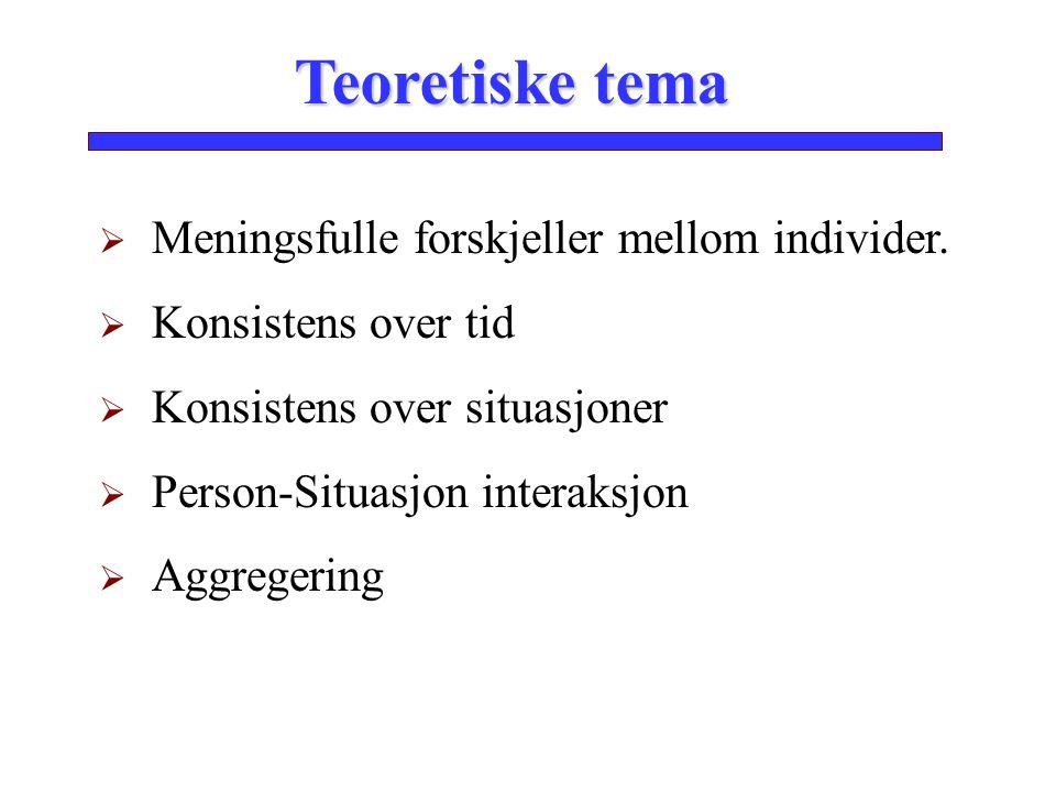 Teoretiske tema Meningsfulle forskjeller mellom individer.