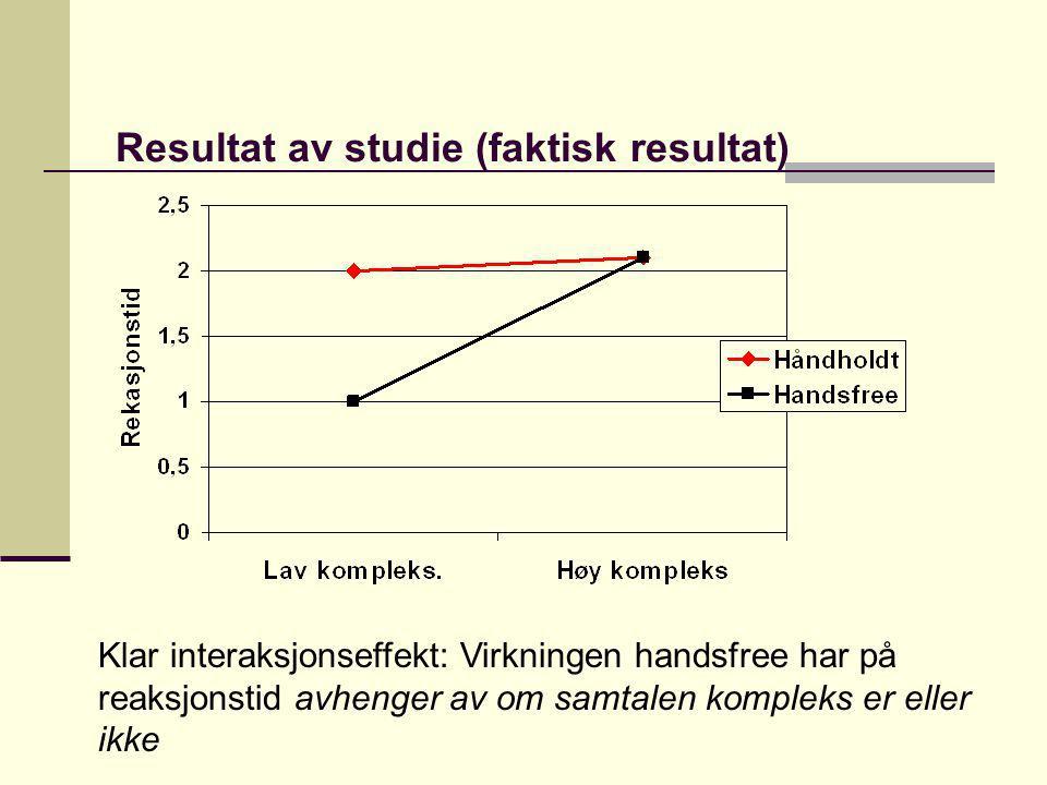 Resultat av studie (faktisk resultat)