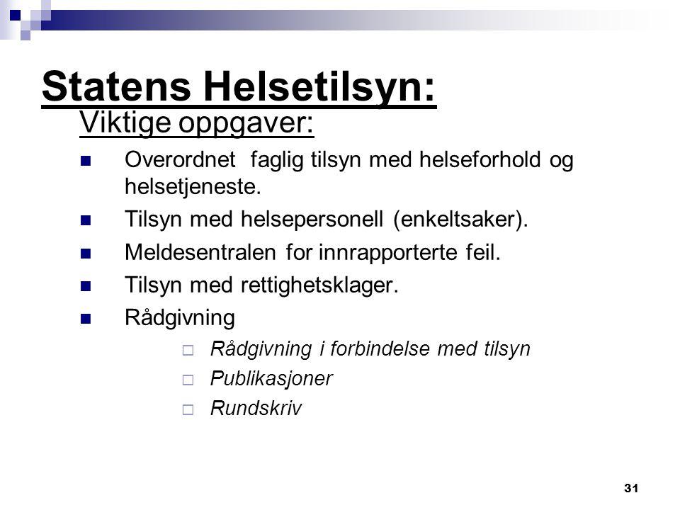 Statens Helsetilsyn: Viktige oppgaver: