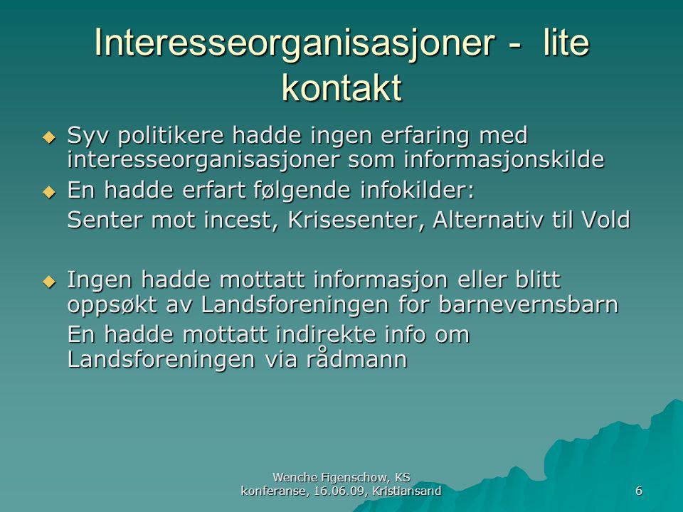 Interesseorganisasjoner - lite kontakt