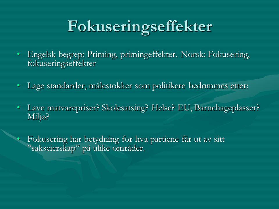 Fokuseringseffekter Engelsk begrep: Priming, primingeffekter. Norsk: Fokusering, fokuseringseffekter.