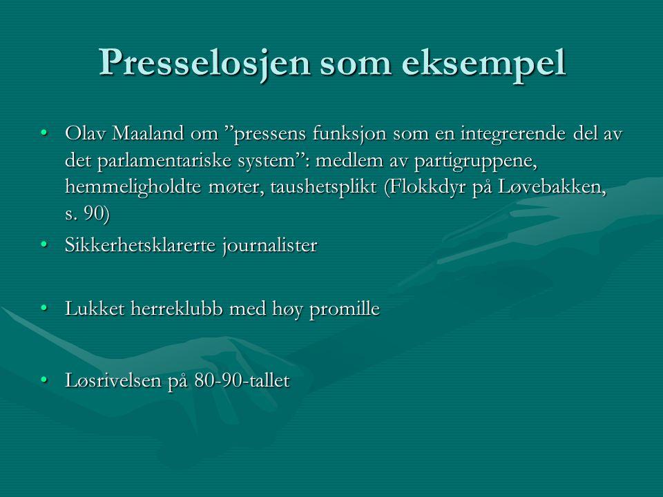 Presselosjen som eksempel